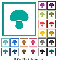 Mushroom flat color icons with quadrant frames