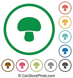 Mushroom flat icons with outlines