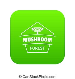 Mushroom forest icon green isolated on white background