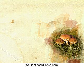 Mushroom frame concept on grunge background