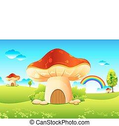 Mushroom Garden - illustration of mushroom homes in ...
