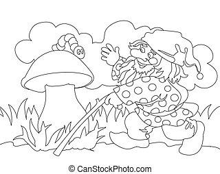 mushroom., gnome, image, chenille