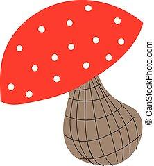 Mushroom hand drawn design, illustration, vector on white background.