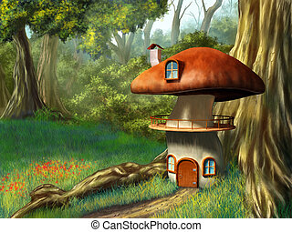 Mushroom house in an enchanted forest. Digital illustration.