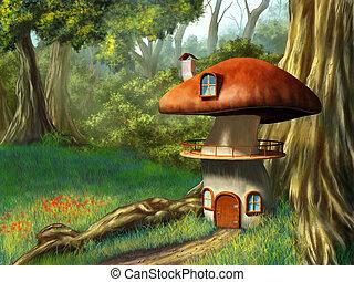 Mushroom house in an enchanted forest. Digital illustration.