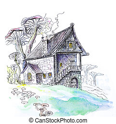 Mushroom house. Hand-drawn. A watercolor drawing. Close up. Isolated on white background