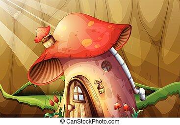 Mushroom house in the garden