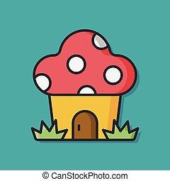 mushroom house vector icon