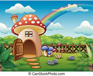 Mushroom house with a rainbow in the field