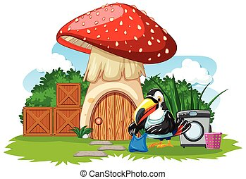 Mushroom house with cute bird cartoon style on white background