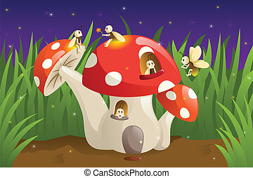 Mushroom house with fireflies - A vector illustration of...