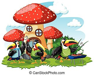 Mushroom house with three bird cartoon style on white background