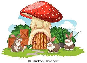 Mushroom house with three rabbit cartoon style on white background