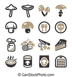 mushroom icon set, vector and illustration