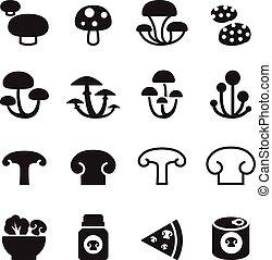 Mushroom icons set