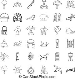 Mushroom icons set, outline style