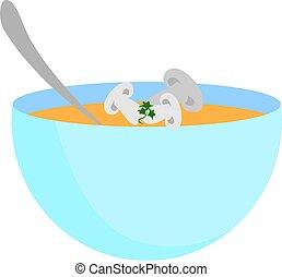 Mushroom in bowl, illustration, vector on white background.