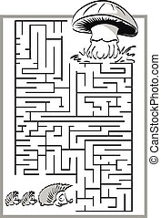 Mushroom labyrinth, maze. - Mushroom labyrinth, maze with a...
