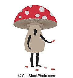 Mushroom man mascot promoter. Male in suit amanita distributes flyers. Puppets fungus engaged in advertising goods