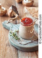 Mushroom pate in the glass jar