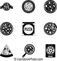 Mushroom pizza icons set, simple style