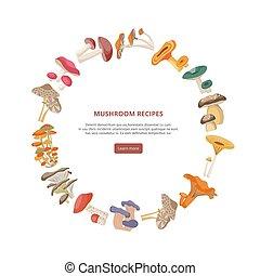 Mushroom recipes banner or brochure cover template flat vector illustration.
