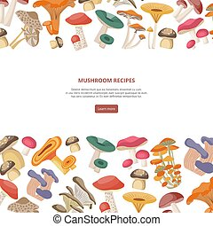 Mushroom recipes banner or cover with forest mushrooms, flat vector illustration.