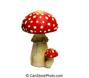 mushroom red and white isolated background