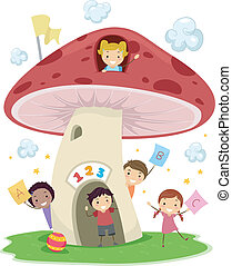 Mushroom School - Illustration of KIds Playing Around a...