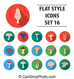Mushroom set icons in flat style. Big collection mushroom bitmap, raster symbol stock illustration