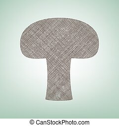Mushroom simple sign. Vector. Brown flax icon on green background with light spot at the center.