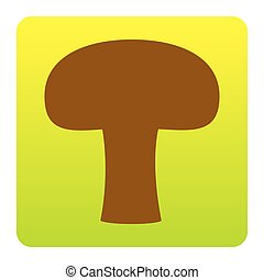 Mushroom simple sign. Vector. Brown icon at green-yellow gradient square with rounded corners on white background. Isolated.
