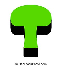 Mushroom simple sign. Vector. Green 3d icon with black side on w