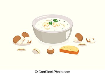 Mushroom soup in a bowl with bread isolated on white background.