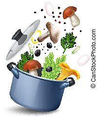 Mushroom Soup Pot Composition