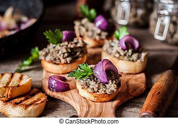 Mushroom Spread on Toasts - Mushroom Spread with Red Onion...