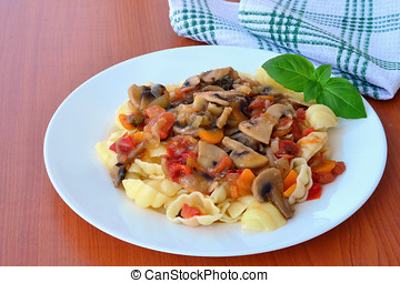 Mushroom stew with vegetables and pasta