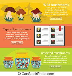 Mushroom types banner horizontal set, flat style