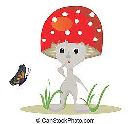 mushroom vector whit butterfy