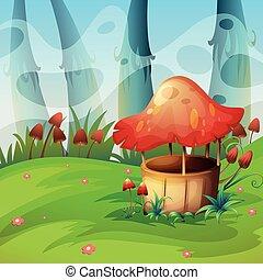 Mushroom will in the field illustration