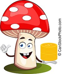 Mushroom with coins, illustration, vector on white background.