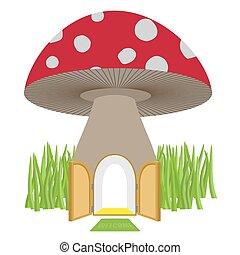 Mushroom with door open. Amanita House for a dwarf, Hobbit....