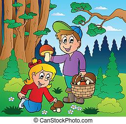 mushrooming, børn, skov