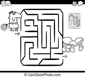 mushrooming maze coloring page - Black and White Cartoon...