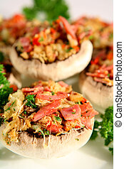 Mushrooms 3 - Mushrooms, stuffed with ham, red bell pepper,...