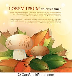 Mushrooms and autumn leaves on a light background with place for your text. Vector
