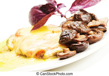 Mushrooms and meat on plate
