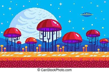 Mushrooms area pixel art game location.