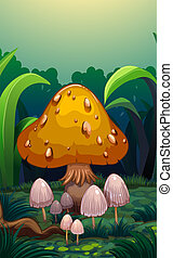 Mushrooms at the forest - Illustration of the mushrooms at ...