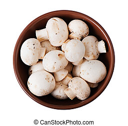 Mushrooms champignons in a plate isolated on white background.